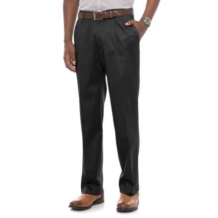 Classic Fit Pleated Front Pants (For Men) in Black - Closeouts