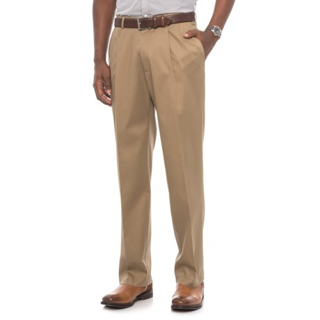 Classic Fit Pleated Front Pants (For Men) in Tan