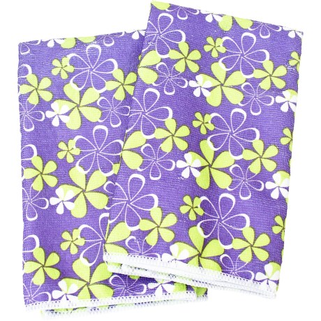 Clean House Microfiber Kitchen Towels - Set of 2 in Purple Floral