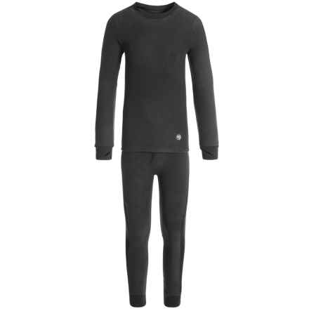 Climatesmart Fleece Base Layer Top and Pants Set - Long Sleeve (For Little and Big Boys) in Black - Closeouts