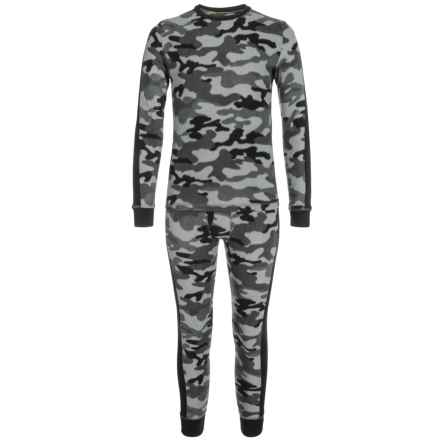 Climatesmart Fleece Top and Pants Base Layer Set - Long Sleeve (For Little and Big Boys) in Classic Grey Camo - Closeouts
