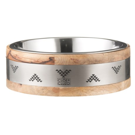 Cloe & Cluzo Mango Wood Aztec Pet Bowl - Large in Aztec