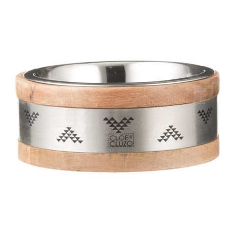 Cloe & Cluzo Mango Wood Aztec Pet Bowl - Medium in Aztec