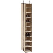 closetMAX Hanging 10-Shelf Shoe Organizer in Taupe/Brown - Closeouts