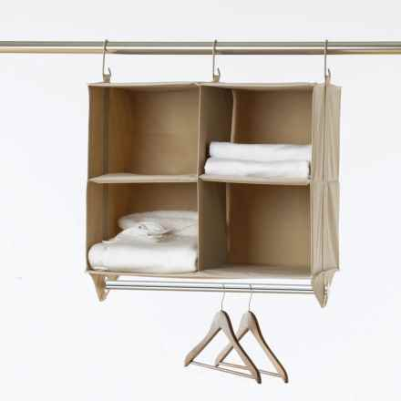 closetMAX Hanging Four-Shelf Organizer with Bar in Sand Pebble Taupe - Closeouts