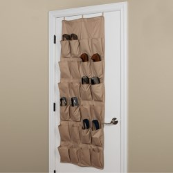 closetMAX Over-the-Door Footwear Organizer - 24-Pocket in Sand Pebble Taupe