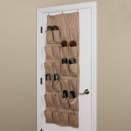 closetMAX Over-the-Door Footwear Organizer - 24-Pocket in Sand Pebble Taupe