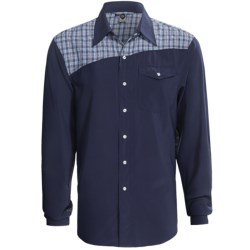 Club Ride Go Long Cycling Shirt - UPF 30+, Snap Front, Long Sleeve (For Men) in Indigo