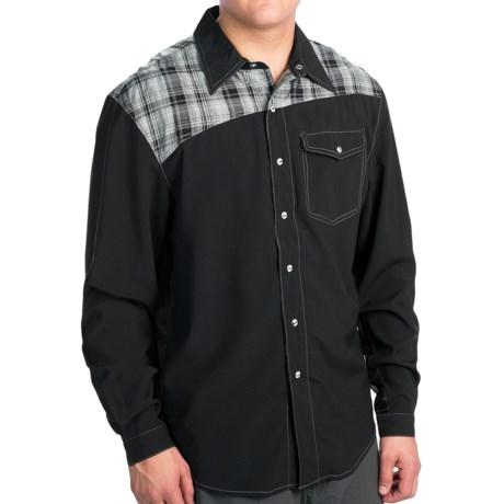 Club Ride Go Long Cycling Shirt - UPF 30+, Snap Front, Long Sleeve (For Men) in Raven Devo