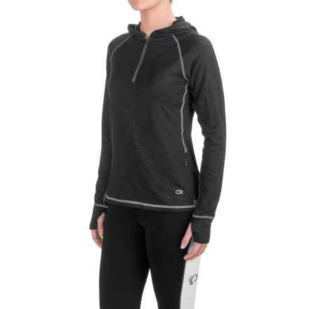 Club Ride Sprint Hoodie - UPF 20+, Zip Neck (For Women) in Raven - Closeouts