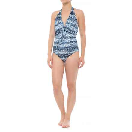 Coastal Zone by Jantzen Halter Plunge One-Piece Swimsuit - Padded Cups (For Women) in Blue Gem - Closeouts