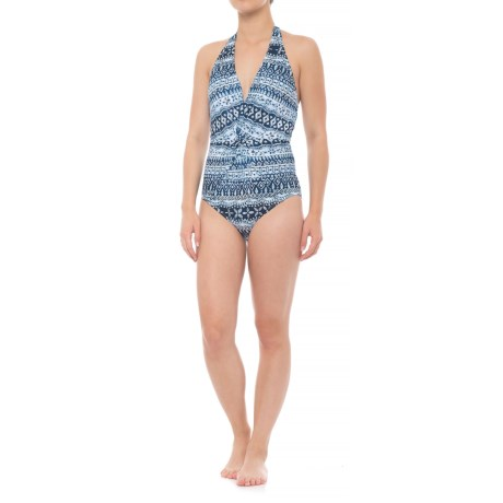 Coastal Zone by Jantzen Halter Plunge One-Piece Swimsuit - Padded Cups (For Women) in Blue Gem