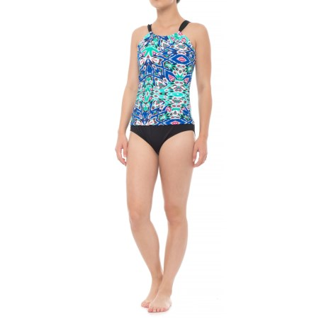 Coastal Zone by Jantzen High Neck One-Piece Swimsuit - Padded Cups (For Women) in Fearless Blue