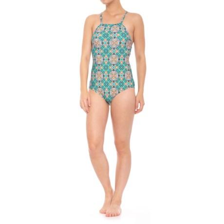 Coastal Zone by Jantzen Lace Back One-Piece Swimsuit (For Women) in Aqua Bella