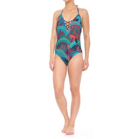 Coastal Zone by Jantzen Laced Plunge One-Piece Swimsuit - Removable Padded Cups (For Women) in Multi