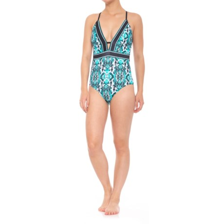 Coastal Zone by Jantzen Plunge One-Piece Swimsuit - Removable Padded Cups (For Women) in Aruba