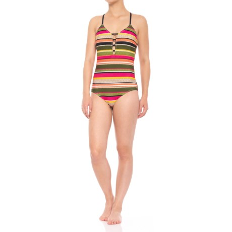 Coastal Zone by Jantzen Strappy One-Piece Swimsuit - Removable Padded Cups (For Women) in Meet Me At Sunset
