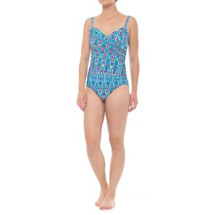Coastal Zone by Jantzen Surplice One-Piece Swimsuit - Removable Padded Cups (For Women) in Multi - Closeouts