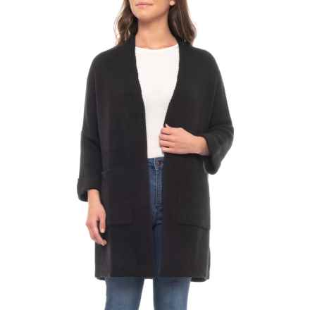 CocoGio Dropped Shoulder Open Oversize Cardigan Sweater - 3/4 Sleeves (For Women) in Black - Closeouts
