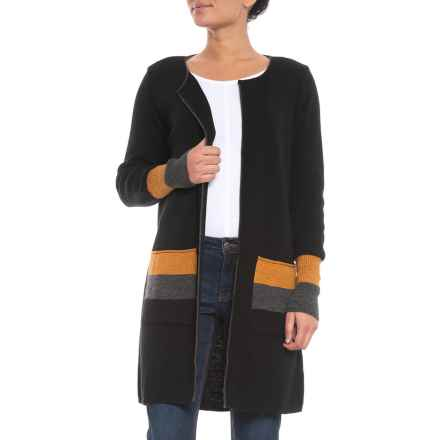 CocoGio MADE IN ITALY Color-Block Cardigan Sweater - Open Front (For Women) in Black - Closeouts