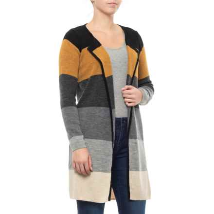 CocoGio Made in Italy Stripe Pattern Open Cardigan Sweater (For Women) in Black - Closeouts