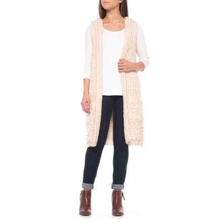 CocoGio MADE IN ITALY Textured Knit Cardigan Sweater - Sleeveless (For Women) in Camel - Closeouts