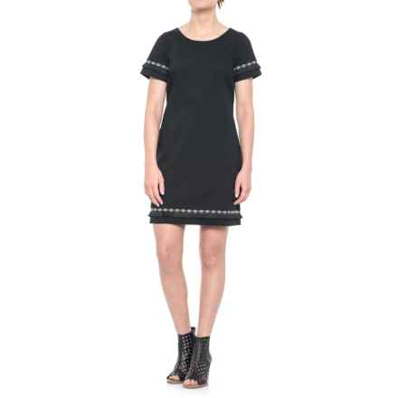 Coercion Cotton Fringe Dress - Short Sleeve (For Women) in Black - Closeouts