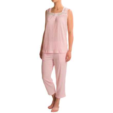 Coeur d'Alene Knit Gauzy Capri Pajamas - Sleeveless (For Women) in Light Pink - Closeouts