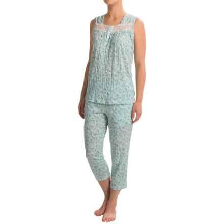 Coeur d'Alene Knit Gauzy Floral Capri Pajamas - Sleeveless (For Women) in Blue Multi - Closeouts