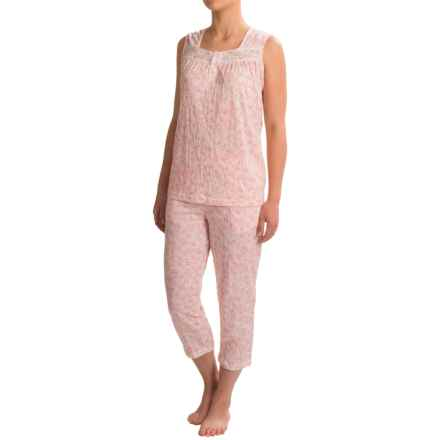Coeur d'Alene Knit Gauzy Floral Capri Pajamas - Sleeveless (For Women) in Pink Multi - Closeouts