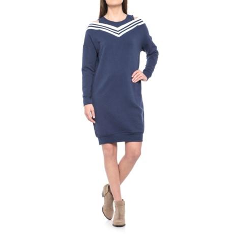 Image of Cold-Shoulder V-Rib Detail Dress - Scoop Neck, Long Sleeve (For Women)