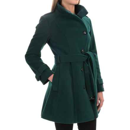 Cole Haan Asymmetrical Belted Jacket - Wool (For Women) in Dark Teal - Closeouts