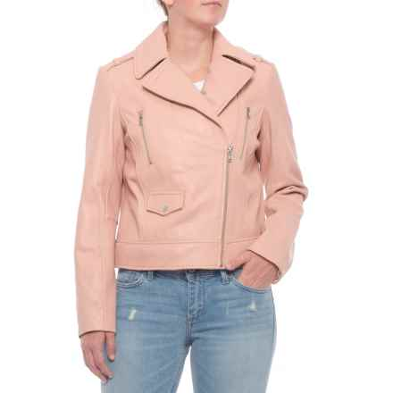 Cole Haan Asymmetrical Zip Jacket - Lambskin (For Women) in Blush - Closeouts