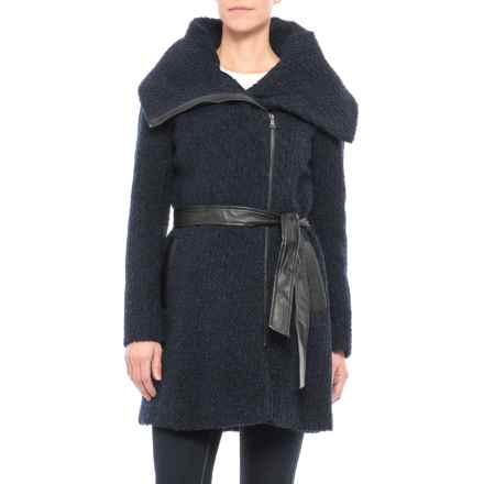 Cole Haan Belted Boucle Coat - Wool Blend (For Women) in Black/Navy - Closeouts