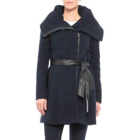 Cole Haan Belted Boucle Coat - Wool Blend (For Women) in Navy/Black