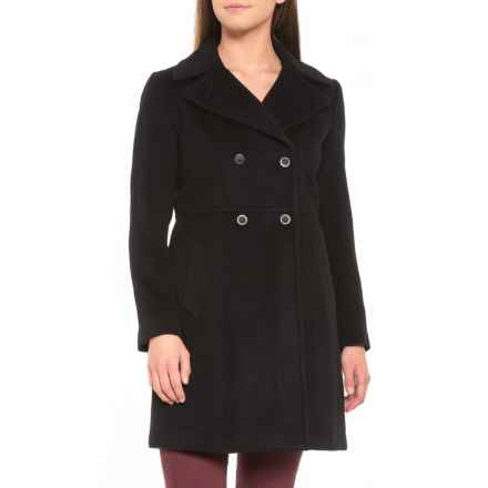 Cole Haan Double-Breasted Notched-Collar Wool Coat (For Women) in Black - Closeouts