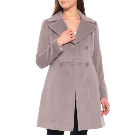 Cole Haan Double-Breasted Notched-Collar Wool Coat (For Women) in Light Grey - Closeouts