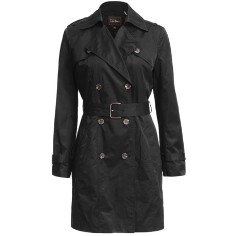 Cole Haan Double-Breasted Trench Coat (For Women) in Black