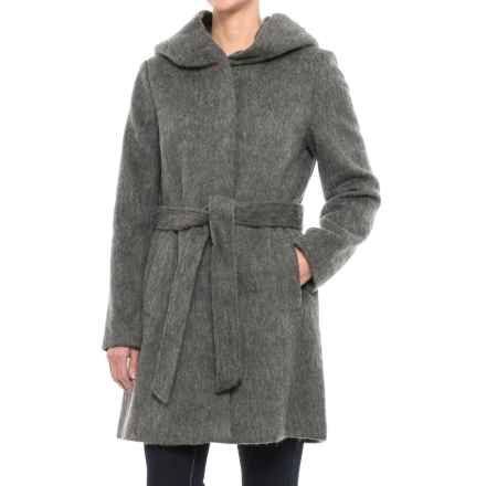 Cole Haan Faux-Angora Belted Coat - Wool Blend (For Women) in Dark Grey - Closeouts