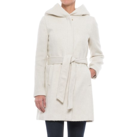 Cole Haan Faux-Angora Belted Coat - Wool Blend (For Women) in Winter