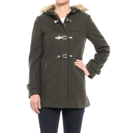 Cole Haan Fireman Clasp Coat - Wool Blend (For Women) in Moss