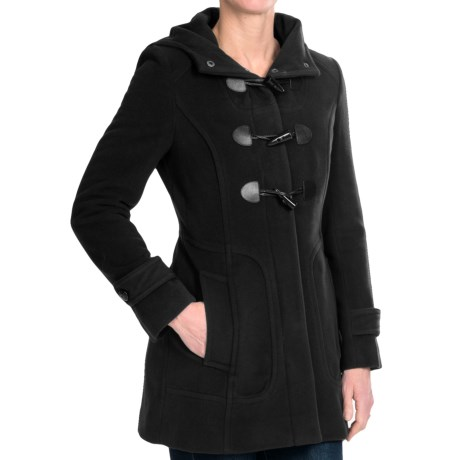Cole Haan Hooded Duffle Coat with Toggles - Wool-Cashmere (For Women) in Black