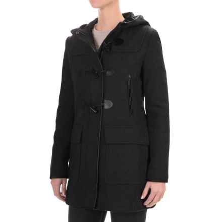 Cole Haan Hooded Duffle Wool Blend Coat - Leather Trim (For Women) in Black - Closeouts