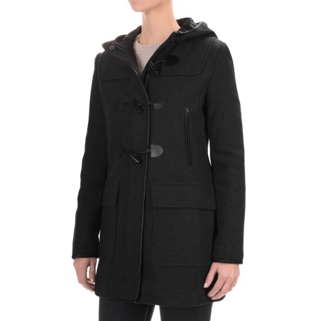 Cole Haan Hooded Duffle Wool Blend Coat - Leather Trim (For Women) in Black