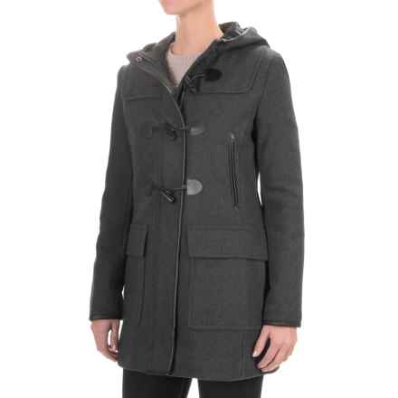 Cole Haan Hooded Duffle Wool Blend Coat - Leather Trim (For Women) in Charcoal - Closeouts