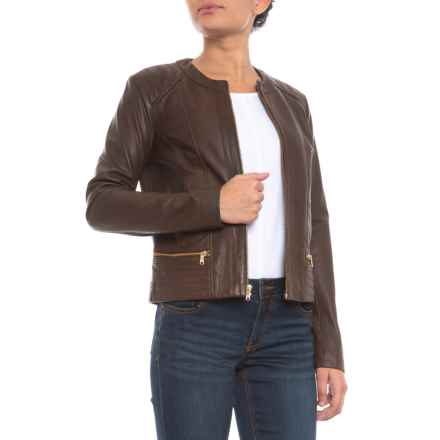 Cole Haan Lamb Leather Jacket (For Women) in Smoke - Closeouts