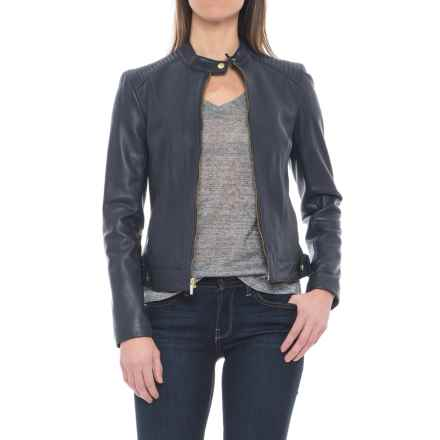 Cole Haan Lambskin Leather Jacket (For Women) in Navy - Closeouts