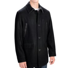 Cole Haan Melton Wool Coat Leather Trim For Mens (Black)