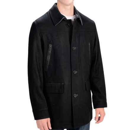 Cole Haan Melton Wool Coat - Leather Trim (For Men) in Black - Closeouts