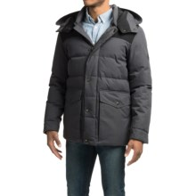 Cole Haan Mixed Media Hooded Down Jacket (For Men) in Charcoal - Closeouts